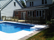 below ground pool deck with barbque level
