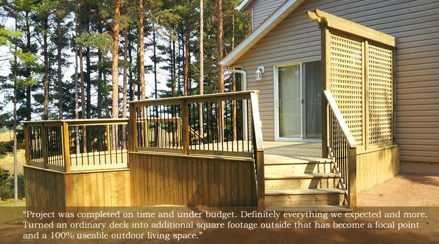 three level wooden deck with lattice screening and stairs